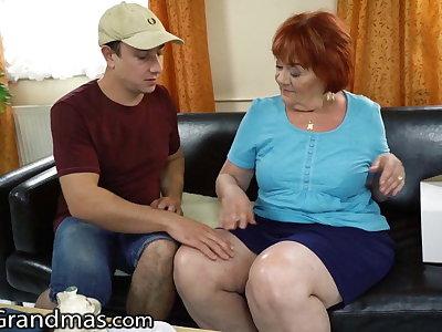 Delivery guy catches lusty granny masturbating