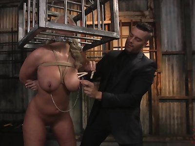 Submissive locked in metal cage MILF London River is fucked hard