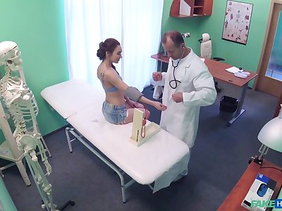 Sexy patient Stacy Snake takes of her clothes to be fucked