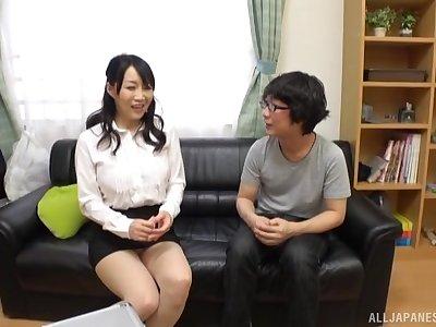 Piping hot Japanese Mature Kirishima Minako plays connected with a vibrator