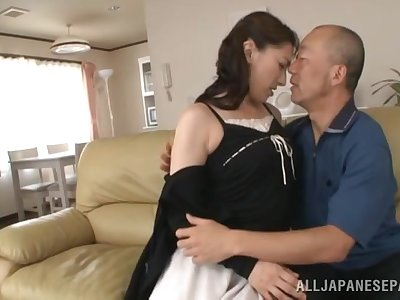 Hard inches for the Japanese mature, with a beautiful creampie at the end