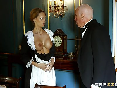 Blonde maid strips for a difficulty master of a difficulty house plus gets laid with him