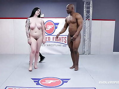 Mixed Wrestling Fight with Amilia Onyx engage in combat with Will Tile and sucking lose concentration big black dick