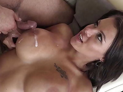 Lucky nerd dude after pleasurable task gets to appreciate the huhe tits of Peta Jensen and tastes her juicy pussy