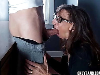 Titillating Granny Swallows Cum From A Big Cock