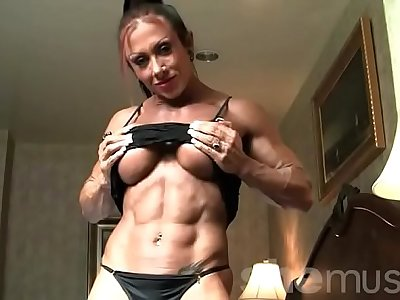 Sexy Female Bodybuilder With Amazing Multitude Poses in Undergarments
