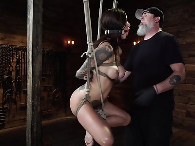 Haley Wilde Coupled with Di Marco In Hogtied Bondage Video