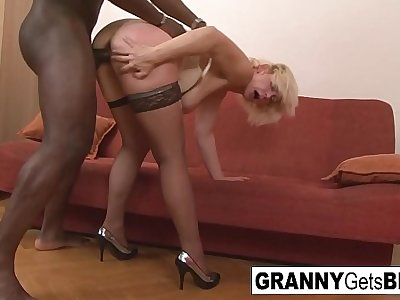 Dirty bazaar mature gets her exasperation filled with black cock