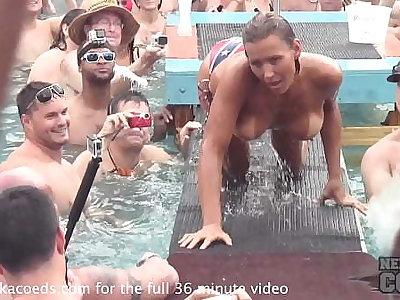 swinger pool strip during nudist festival alongside florida