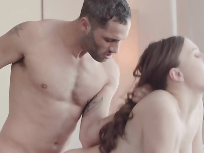 Teen is fucked wide of the senior guy in the porn studio