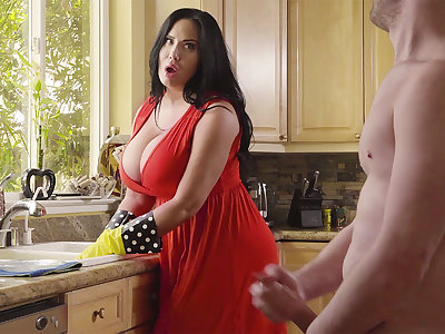 During cleaning stepson plow his big-chested stepmom