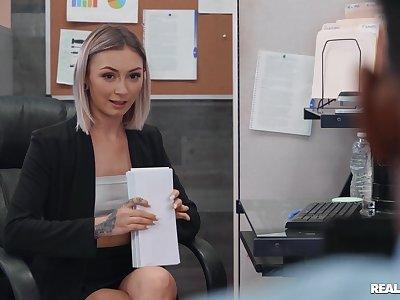 Blonde doll gets burnish apply BBC handy burnish apply meeting