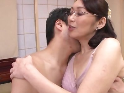 Mature Japanese fucked by step son in strong modes