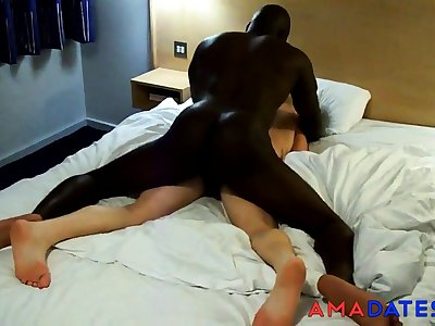 girl is fucked by a big black cock