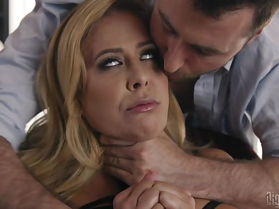 After a blowjob Cherie Deville sits on a stranger's pecker on the chair