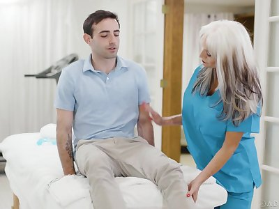 Jaw dropping mature nurse Sally Dangelo is fucking young patient