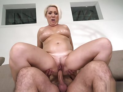 Hot granny Bibi Pink has a new young lover