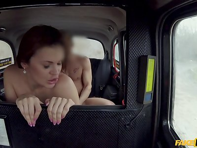 MILF plays rough beyond dick in fake taxi tryout