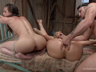 Sultry man deep fucks these slaved bitches until they swallow his jizz