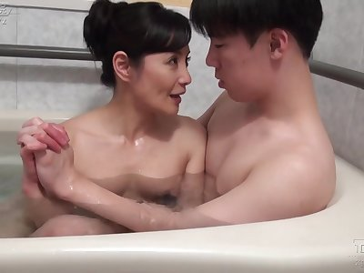 Asian full-grown fucked probe bath