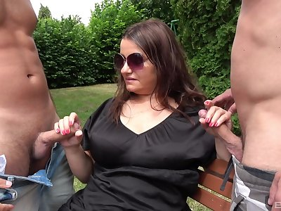 Chubby nourisher gets will not hear of hands on two steel cocks
